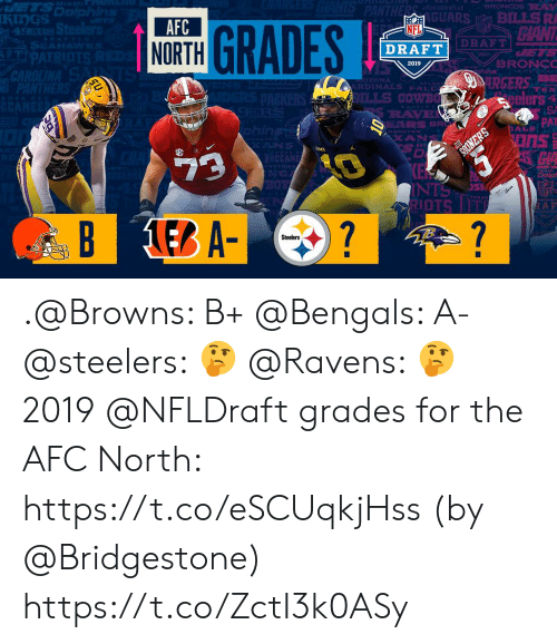 San Francisco 49ers, Memes, and Nfl: rS  KIngS  RS BILLS R  CIANT  AFC  NORTH  NFL  49ERS  DRAFT  DRAFT  BRONC  2019  ZONA  RDINALS PAL  eelers  PAT  AS i  EARS BR  9  İDTS .@Browns: B+ @Bengals: A- @steelers: 🤔 @Ravens: 🤔  2019 @NFLDraft grades for the AFC North: https://t.co/eSCUqkjHss (by @Bridgestone) https://t.co/ZctI3k0ASy