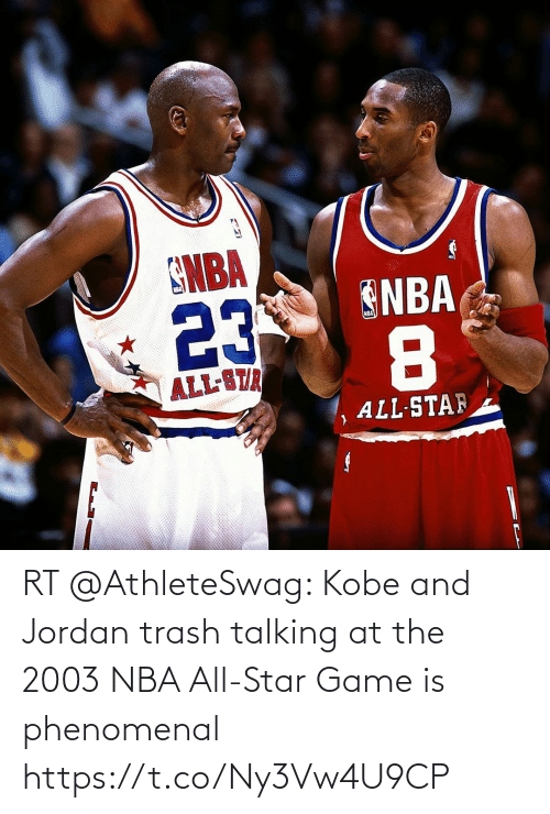 NBA All-Star Game: RT @AthleteSwag: Kobe and Jordan trash talking at the 2003 NBA All-Star Game is phenomenal https://t.co/Ny3Vw4U9CP