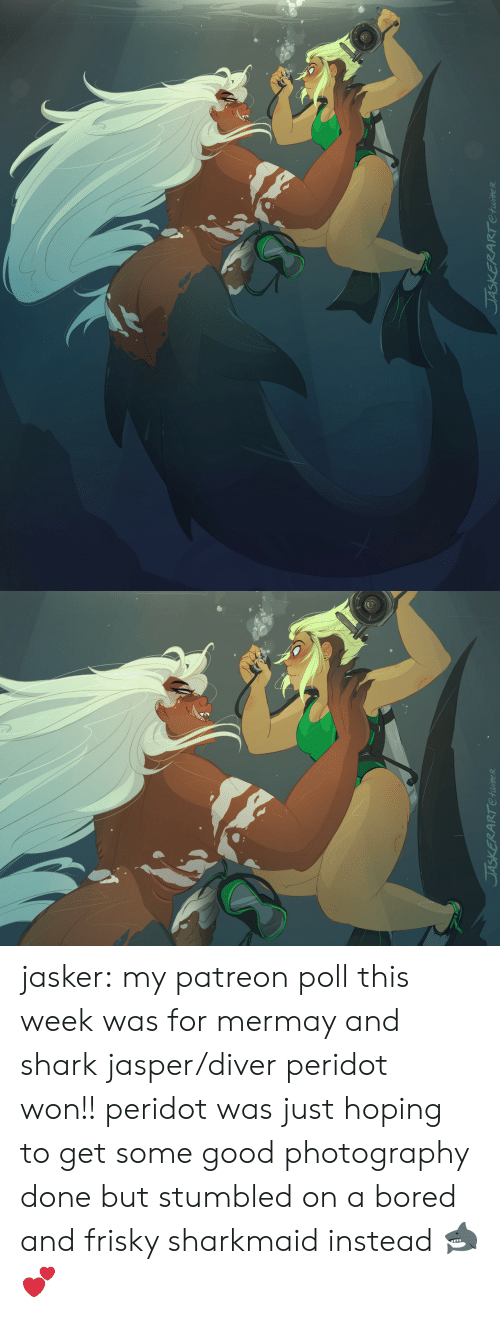 Bored, Tumblr, and Shark: RT Ctwite R   レ jasker:  my patreon poll this week was for mermay and shark jasper/diver peridot won!!peridot was just hoping to get some good photography done but stumbled on a bored and frisky sharkmaid instead🦈💕