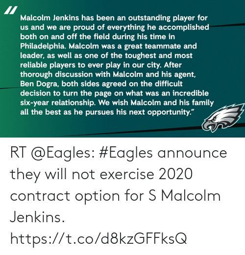 malcolm: RT @Eagles: #Eagles announce they will not exercise 2020 contract option for S Malcolm Jenkins. https://t.co/d8kzGFFksQ