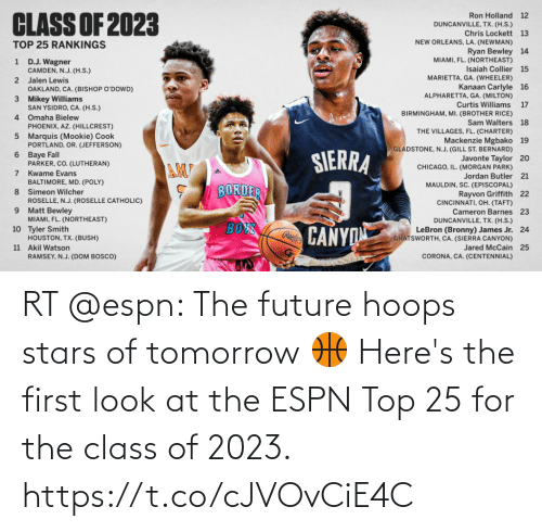 top: RT @espn: The future hoops stars of tomorrow 🏀  Here's the first look at the ESPN Top 25 for the class of 2023. https://t.co/cJVOvCiE4C