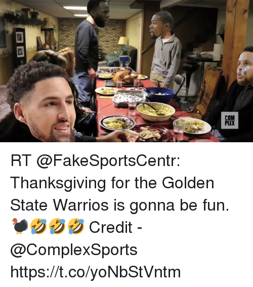 Football, Nfl, and Sports: RT @FakeSportsCentr: Thanksgiving for the Golden State Warrios is gonna be fun. 🦃🤣🤣🤣  Credit - @ComplexSports  https://t.co/yoNbStVntm