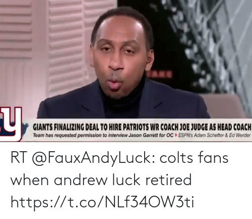 Andrew Luck: RT @FauxAndyLuck: colts fans when andrew luck retired https://t.co/NLf34OW3ti