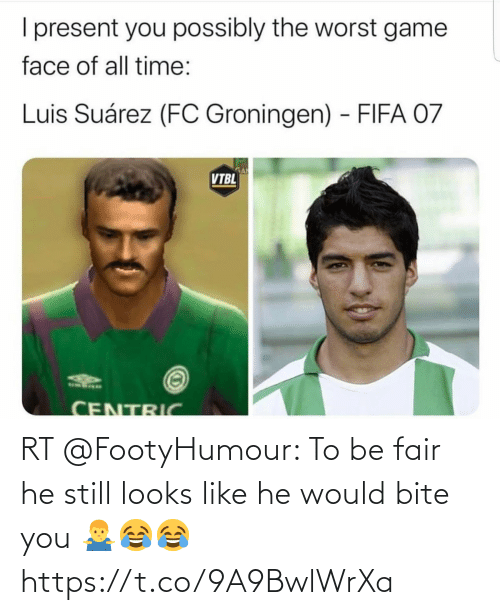 bite: RT @FootyHumour: To be fair he still looks like he would bite you 🤷♂️😂😂 https://t.co/9A9BwlWrXa