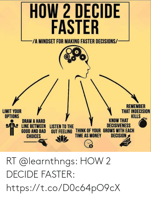 faster: RT @learnthngs: HOW 2 DECIDE FASTER: https://t.co/D0c64pO9cX