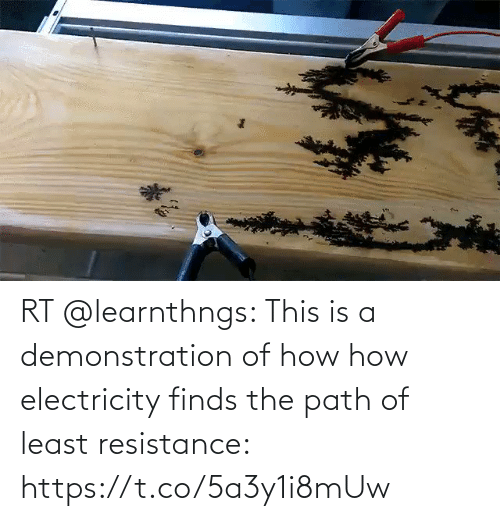 This Is A: RT @learnthngs: This is a demonstration of how how electricity finds the path of least resistance: https://t.co/5a3y1i8mUw