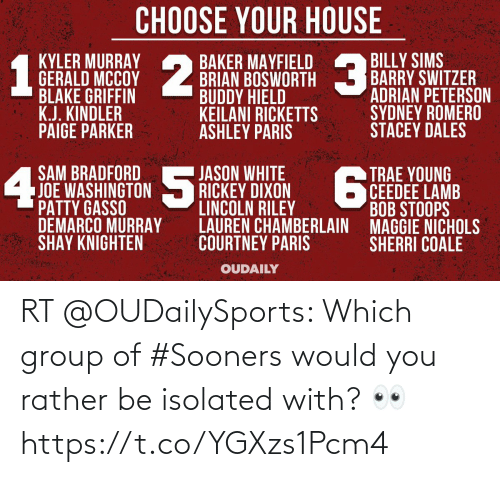Rather Be: RT @OUDailySports: Which group of #Sooners would you rather be isolated with? 👀 https://t.co/YGXzs1Pcm4