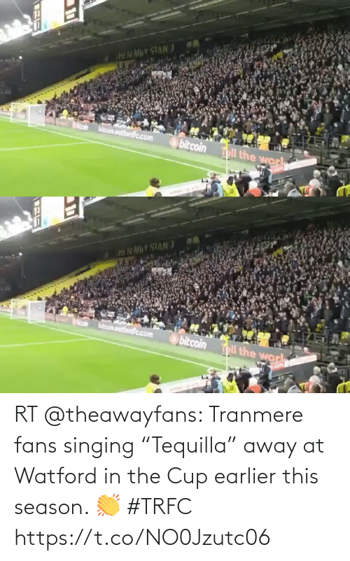 """Singing: RT @theawayfans: Tranmere fans singing """"Tequilla"""" away at Watford in the Cup earlier this season. 👏 #TRFC https://t.co/NO0Jzutc06"""