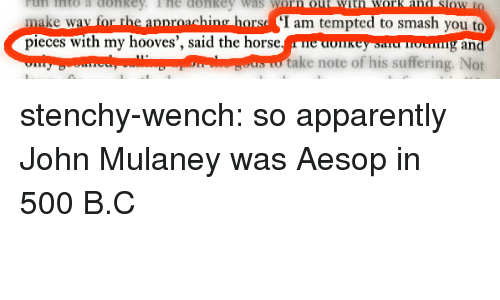 John Mulaney: rtun into a conkey  Tnto a ConRE  lhe donke  Was  V  make wav for the apnroaching horsd I am tempted to smash you to  pieces with my hooves', said the horse.e donkeysnu oung an  take note of his suffering. Not stenchy-wench: so apparently John Mulaney was Aesop in 500 B.C