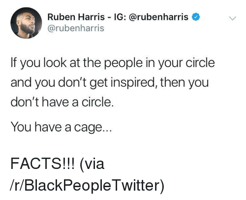 Blackpeopletwitter, Facts, and Via: Ruben Harris IG: @rubenharris  @rubenharris  If you look at the people in your circle  and you don't get inspired, then you  don't have a circle.  You have a cage FACTS!!! (via /r/BlackPeopleTwitter)