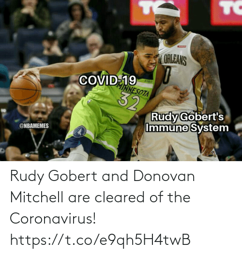 Coronavirus: Rudy Gobert and Donovan Mitchell are cleared of the Coronavirus! https://t.co/e9qh5H4twB