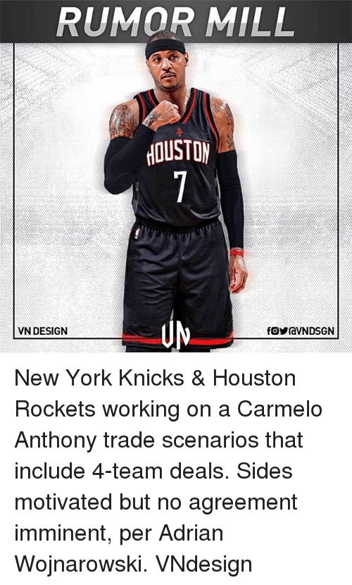 Houston Rockets: RUMOR MILL  OUSTO  VN DESIGN New York Knicks & Houston Rockets working on a Carmelo Anthony trade scenarios that include 4-team deals. Sides motivated but no agreement imminent, per Adrian Wojnarowski. VNdesign