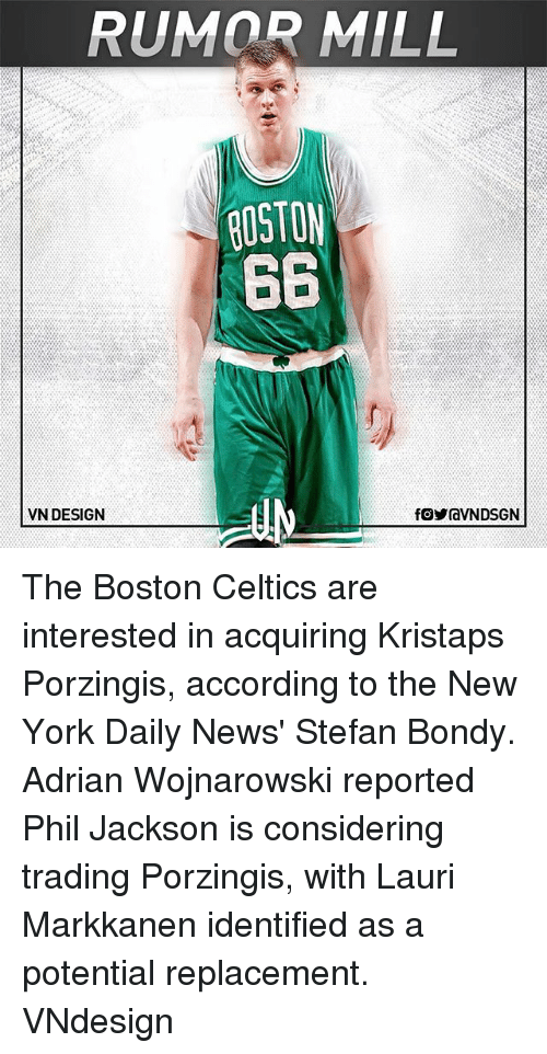 Kristaps Porzingis: RUMOR MILL  ROSTON  66  VN DESIGN The Boston Celtics are interested in acquiring Kristaps Porzingis, according to the New York Daily News' Stefan Bondy. Adrian Wojnarowski reported Phil Jackson is considering trading Porzingis, with Lauri Markkanen identified as a potential replacement. VNdesign