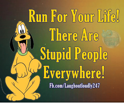 run for your life: Run For Your Life  There Are  Stupid People  Everywhere!  Fb.com/Laughoutloudly247