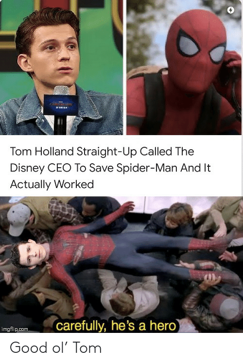 Disney, Spider, and SpiderMan: RUNEE  Tom Holland Straight-Up Called The  Disney CEO To Save Spider-Man And It  Actually Worked  carefully, he's a hero)  imgflip.com Good ol' Tom