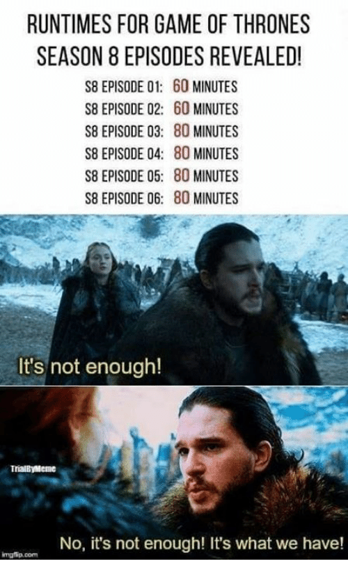 Game Of Thrones Season 8: RUNTIMES FOR GAME OF THRONES  SEASON 8 EPISODES REVEALED!  S8 EPISODE 01: 60 MINUTES  S8 EPISODE 02: 60 MINUTES  S8 EPISODE 03: 80 MINUTES  S8 EPISODE 04: 80 MINUTES  S8 EPISODE 05: 80 MINUTES  S8 EPISODE 06: 80 MINUTES  It's not enough!  TrialByMeme  No, it's not enough! It's what we have!  mgfip.com