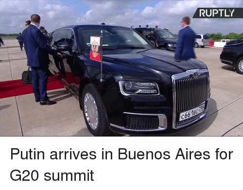 Dank, Putin, and 🤖: RUPTLY  C66189 Putin arrives in Buenos Aires for G20 summit