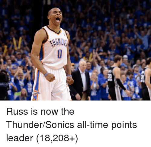 Time, Thunder, and All: Russ is now the Thunder/Sonics all-time points leader (18,208+)