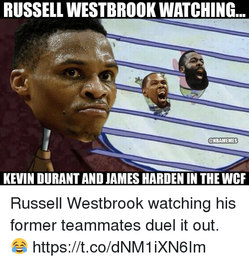 James Harden, Kevin Durant, and Russell Westbrook: RUSSELL WESTBROOK WATCHING  @NBAMEMES  KEVIN DURANT AND JAMES HARDEN IN THE WCR Russell Westbrook watching his former teammates duel it out. 😂 https://t.co/dNM1iXN6Im