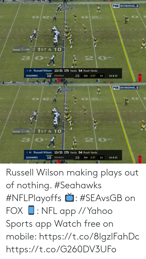 Seahawks: Russell Wilson making plays out of nothing. #Seahawks #NFLPlayoffs  📺: #SEAvsGB on FOX 📱: NFL app // Yahoo Sports app Watch free on mobile: https://t.co/8lgzlFahDc https://t.co/G260DV3UFo