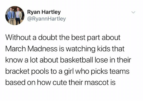Basketball, Cute, and Dank: Ryan Hartley  @RyannHartley  Without a doubt the best part about  March Madness is watching kids that  know a lot about basketball lose in their  bracket pools to a girl who picks teams  based on how cute their mascot is