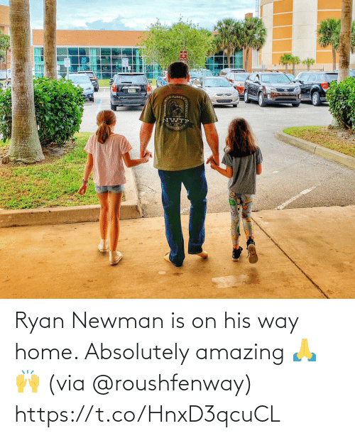 Newman: Ryan Newman is on his way home. Absolutely amazing 🙏🙌 (via @roushfenway) https://t.co/HnxD3qcuCL