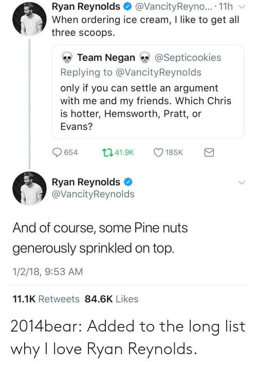 negan: Ryan Reynolds@VancityReyno... . 11h v  When ordering ice cream, I like to get all  three scoops  雙Team Negan ?y @Sept.cookies  Replying to @VancityReynolds  only if you can settle an argument  with me and my friends. Which Chris  is hotter, Hemsworth, Pratt, or  Evans?  65441.9 185K  Ryan Reynolds C  @VancityReynolds  And of course, some Pine nuts  generously sprinkled on top  1/2/18, 9:53 AM  11.1K Retweets 84.6K Likes 2014bear:  Added to the long list why I love Ryan Reynolds.