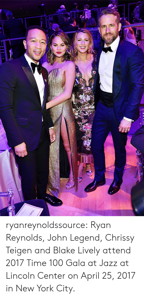 Anaconda, Chrissy Teigen, and John Legend: ryanreynoldssource:    Ryan Reynolds, John Legend, Chrissy Teigen and Blake Livelyattend 2017 Time 100 Gala at Jazz at Lincoln Center on April 25, 2017 in New York City.