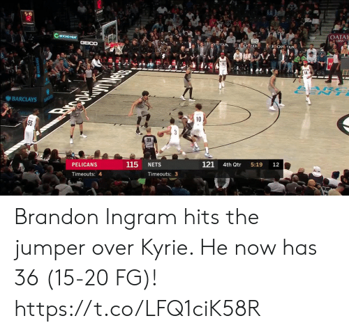 Memes, Barclays, and Brandon Ingram: S 19  12  BEYOND MEAT  OATA  AIRW  GEICO  DA  EON DA  11  14  ARC  ENT  BARCLAYS  BANCLAYS  Brpc  10  55  3  39  121  115  PELICANS  NETS  4th Qtr  5:19  12  Timeouts: 4  Timeouts: 3 Brandon Ingram hits the jumper over Kyrie. He now has 36 (15-20 FG)!  https://t.co/LFQ1ciK58R