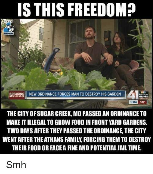 ordinance: S THIS FREEDOM?  BREAKING NEW ORDINANCE FORCES MAN TO DESTROY HIS GARDEN  Action  NEWS  NEWS LEADER  5:04  58  THE CITY OF SUGAR CREEK, MO PASSED AN ORDINANCE TO  MAKE IT ILLEGAL TO GROW FOOD IN FRONT YARD GARDENS.  TWO DAYS AFTER THEY PASSED THE ORDINANCE, THE CITY  WENT AFTER THE ATHANS FAMILY, FORCING THEM TO DESTROY  THEIR FOOD OR FACE A FINE AND POTENTIAL JAIL TIME. Smh