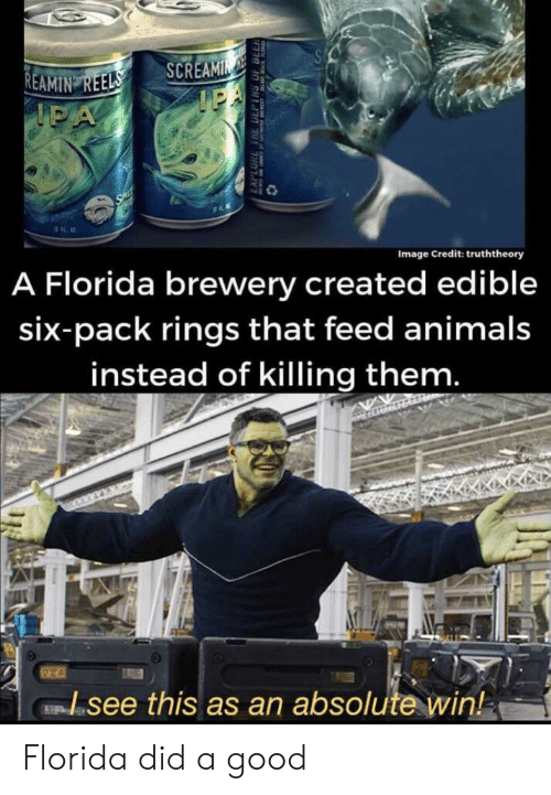 six pack: SA  REAMIN REELS  IPA  SCREAMIN  IEA  SAL  A Florida brewery created edible  Image Credit: truththeory  six-pack rings that feed animals  instead of killing them.  see this as an absolute win!  EAPLORE THE DEPTHS OF DLL Florida did a good