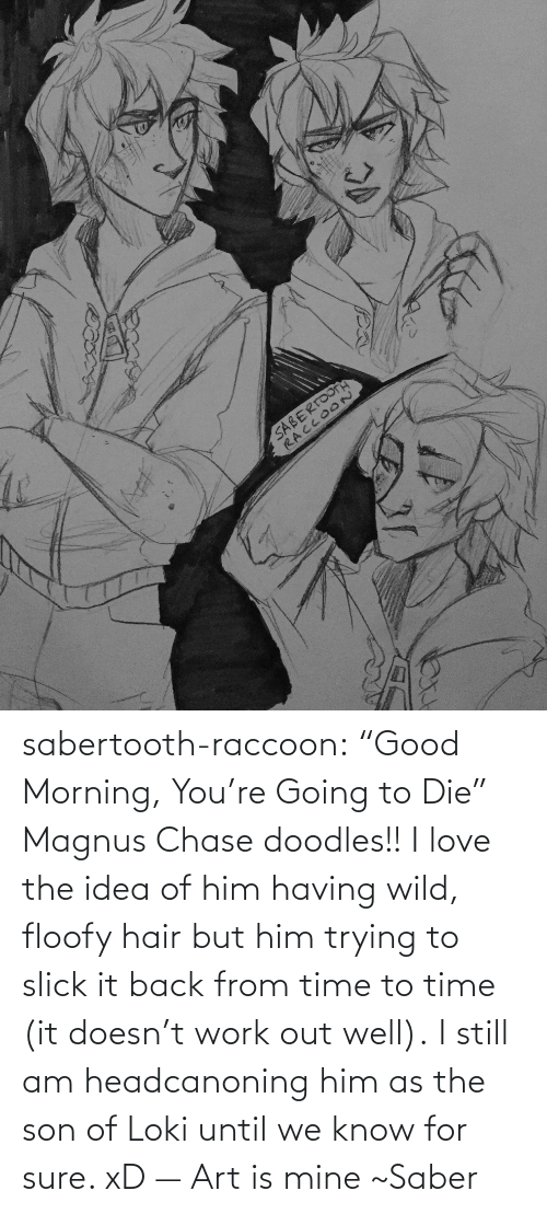 "sabertooth: SABERTOOTA  RACCOO~ sabertooth-raccoon:  ""Good Morning, You're Going to Die""  Magnus Chase doodles!! I love the idea of him having wild, floofy hair but him trying to slick it back from time to time (it doesn't work out well).  I still am headcanoning him as the son of Loki until we know for sure. xD  —  Art is mine ~Saber"