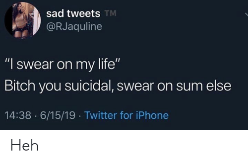 """Bitch, Iphone, and Life: sad tweets TM  @RJaquline  """"I swear on my life""""  Bitch you suicidal, swear on sum else  14:38 6/15/19 Twitter for iPhone Heh"""