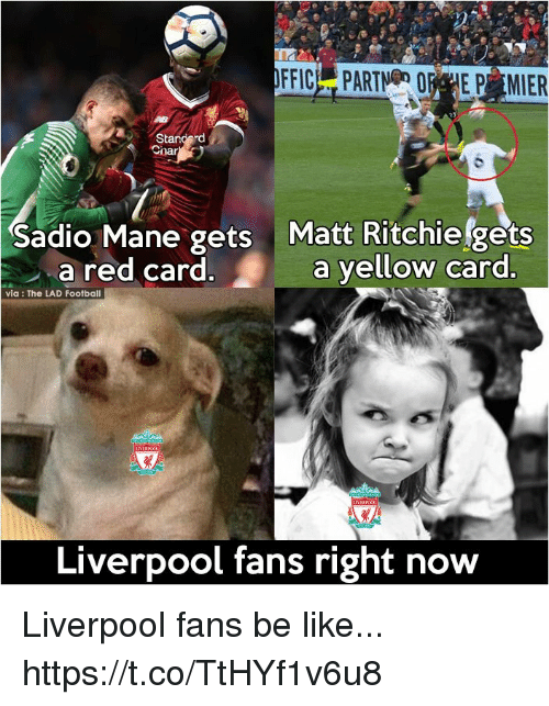 red card: Sadio Mane gets Matt Ritchiefgets  a red card.a yellow card  via: The LAD Football  Liverpool fans right now Liverpool fans be like... https://t.co/TtHYf1v6u8