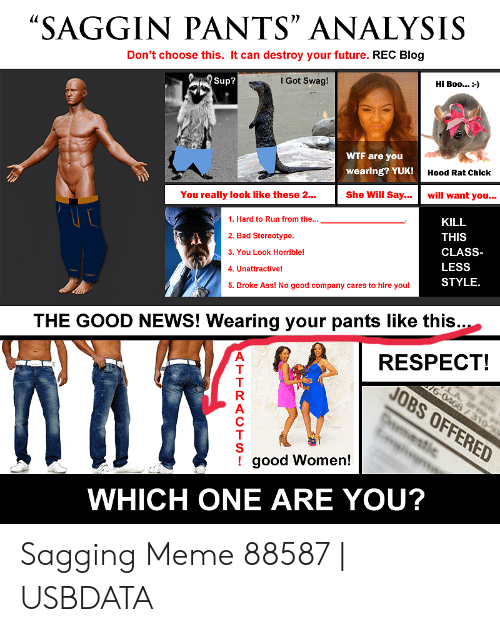 "Saggy Pants Meme: SAGGIN PANTS"" ANALYSIS  Don't choose this. It can destroy your future. REC Blog  I Got Swag!  Hi Boo :-)  WTF are you  wearing? YUK!  Hood Rat Chick  She Will Say.. will want you.  You really look like these 2…  1. Hard to Run from the...  KILL  2. Bad Stereotype.  THIS  CLASS-  3. You Look Horrible!  LESS  4. Unattractive!  STYLE.  5. Broke Ass! No good company cares to hire you!  THE GOOD NEWS! Wearing your pants like this....  RESPECT!  good Women!  WHICH ONE ARE YOU? Sagging Meme 88587 