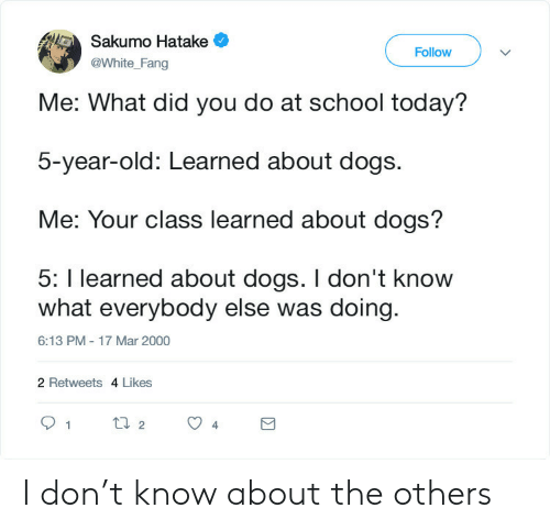Dogs, School, and Today: Sakumo Hatake  Follow  @White_Fang  Me: What did you do at school today?  5-year-old: Learned about dogs.  Me: Your class learned about dogs?  5: I learned about dogs. I don't know  what everybody else was doing  6:13 PM - 17 Mar 2000  2 Retweets 4 Likes  t2  1  4 I don't know about the others