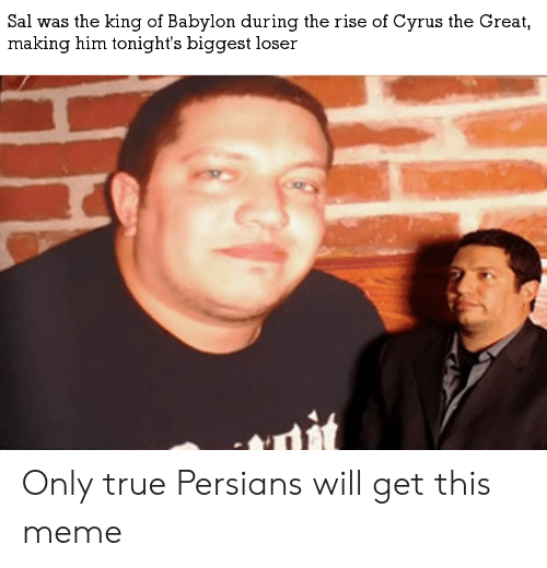 Meme, True, and History: Sal was the king of Babylon during the rise of Cyrus the Great,  making him tonight's biggest loser Only true Persians will get this meme