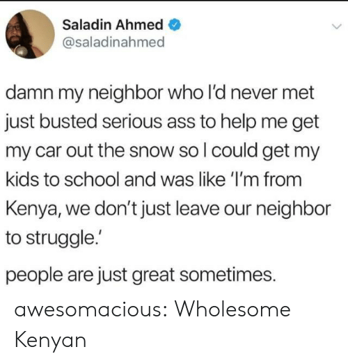 Ahmed: Saladin Ahmed  @saladinahmed  damn my neighbor who l'd never met  just busted serious ass to help me get  my car out the snow so l could get my  kids to school and was like 'I'm from  Kenya, we don't just leave our neighbor  to struggle.  people are just great sometimes. awesomacious:  Wholesome Kenyan