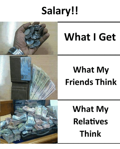 Friends, Memes, and 🤖: Salary!!  What I Get  What My  Friends Think  What My  Relatives  Think