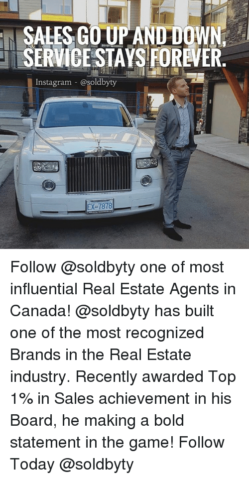 real estate agent: SALES GOUP AND DOWNr  SERVICE STAYS FOREVER  Instagram @soldbyty  EX 7878 Follow @soldbyty one of most influential Real Estate Agents in Canada! @soldbyty has built one of the most recognized Brands in the Real Estate industry. Recently awarded Top 1% in Sales achievement in his Board, he making a bold statement in the game! Follow Today @soldbyty