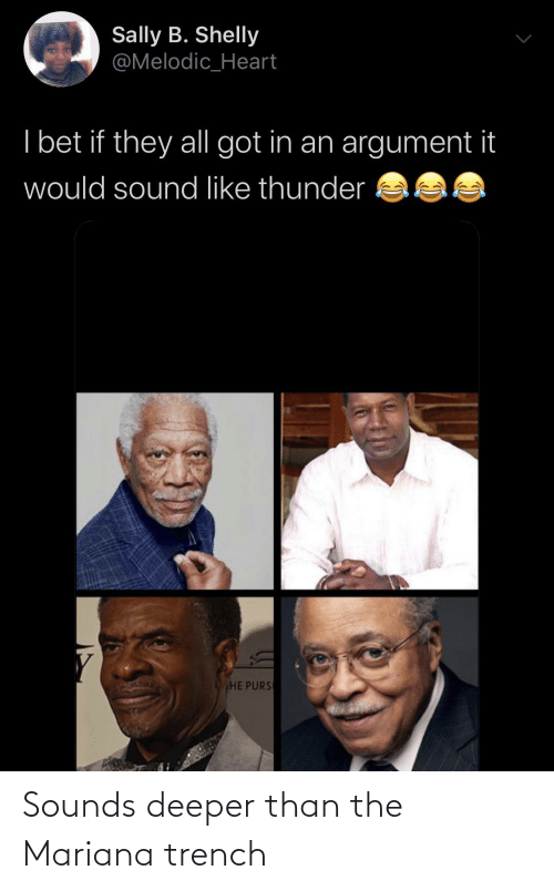 argument: Sally B. Shelly  @Melodic_Heart  I bet if they all got in an argument it  would sound like thunder  HE PURS Sounds deeper than the Mariana trench
