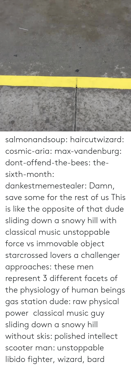 Classical Music.: salmonandsoup:  haircutwizard:  cosmic-aria:  max-vandenburg:  dont-offend-the-bees:  the-sixth-month:  dankestmemestealer: Damn, save some for the rest of us This is like the opposite of that dude sliding down a snowy hill with classical music  unstoppable force vs immovable object  starcrossed lovers  a challenger approaches:  these men represent 3 different facets of the physiology of human beings gas station dude: raw physical power classical music guy sliding down a snowy hill without skis: polished intellect scooter man: unstoppable libido  fighter, wizard, bard