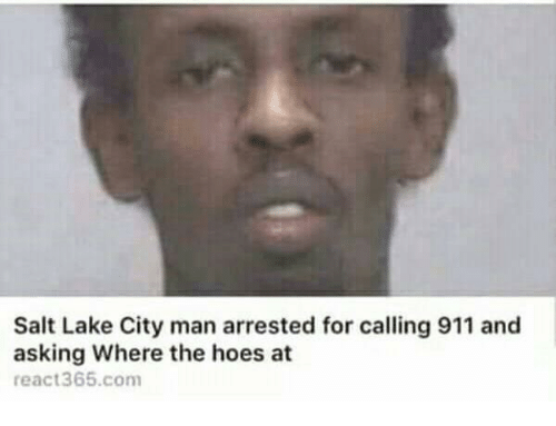 Hoes, The Hoes, and Asking: Salt Lake City man arrested for calling 911 and  asking Where the hoes at  react365.com