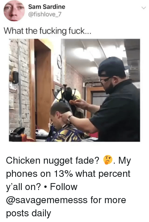 Fucking Fuck: Sam Sardine  @fishlove_7  What the fucking fuck Chicken nugget fade? 🤔. My phones on 13% what percent y'all on? • Follow @savagememesss for more posts daily