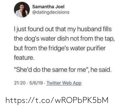 "Dish: Samantha Joel  @datingdecisions  I just found out that my husband fills  the dog's water dish not from the tap,  but from the fridge's water purifier  feature.  ""She'd do the same for me"", he said.  21:20 5/6/19 Twitter Web App https://t.co/wROPbPK5bM"