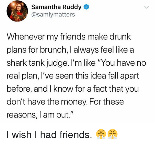 """Wish I Had Friends: Samantha Ruddy  @samlymatters  Whenever my friends make drunk  plans for brunch, I always feel like a  shark tank judge. I'm like """"You have no  real plan, I've seen this idea fall apart  before, and I know for a fact that you  don't have the money. For these  reasons, I am out."""" I wish I had friends. 😤😤"""