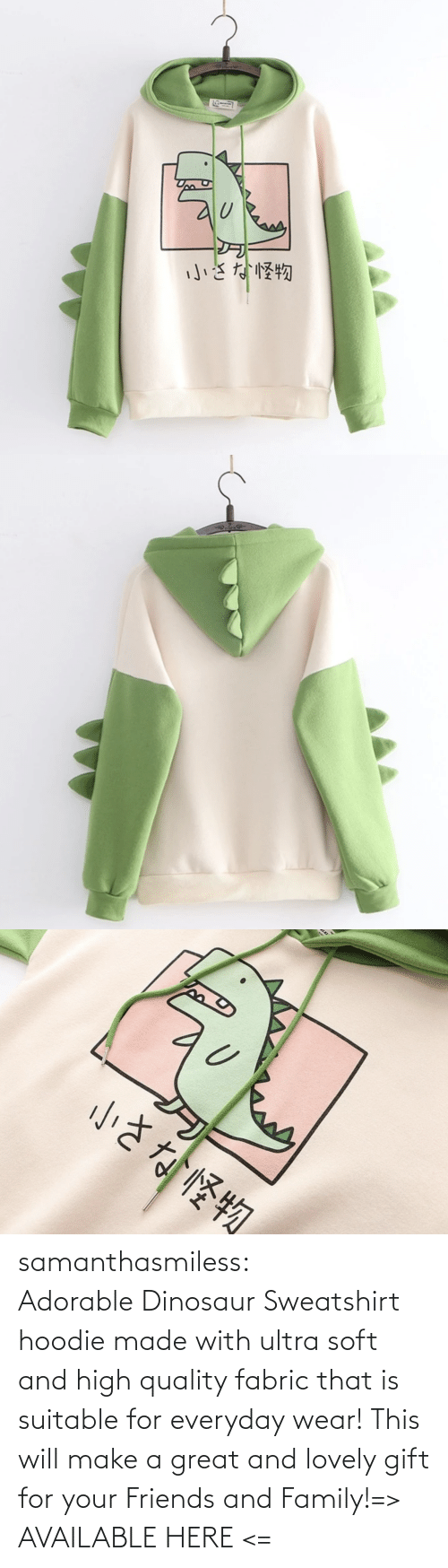 wear: samanthasmiless:  Adorable Dinosaur Sweatshirt hoodie made with ultra soft and high quality fabric that is suitable for everyday wear! This will make a great and lovely gift for your Friends and Family!=> AVAILABLE HERE <=