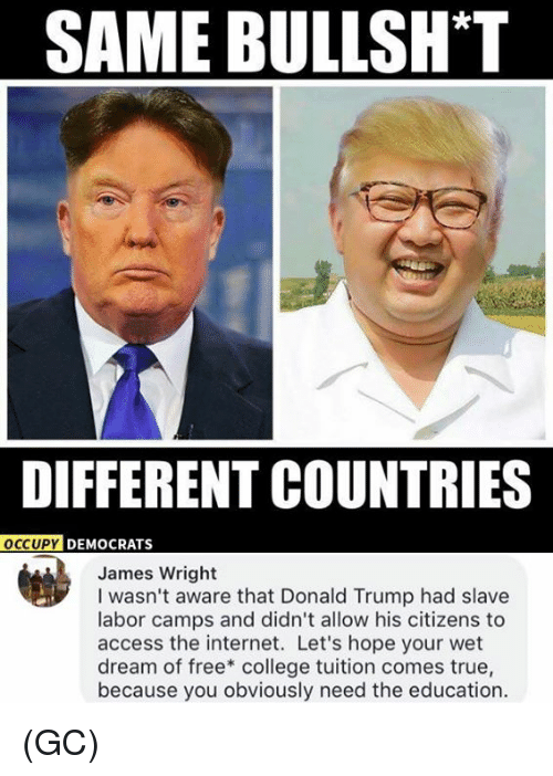 wet dream: SAME BULLSH*T  DIFFERENT COUNTRIES  OCCUPY  PY DEMOCRATS  James Wright  I wasn't aware that Donald Trump had slave  labor camps and didn't allow his citizens to  access the internet. Let's hope your wet  dream of free* college tuition comes true,  because you obviously need the education. (GC)