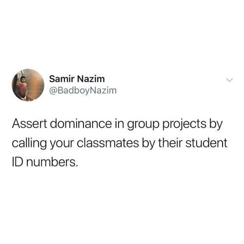 Student, Group, and Projects: Samir Nazim  @BadboyNazim  Assert dominance in group projects by  calling your classmates by their student  ID numbers.