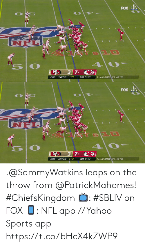 Yahoo: .@SammyWatkins leaps on the throw from @PatrickMahomes! #ChiefsKingdom  📺: #SBLIV on FOX 📱: NFL app // Yahoo Sports app https://t.co/bHcX4kZWP9